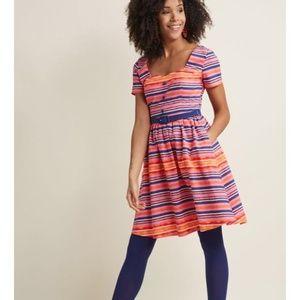 ModCloth Seville Fit & Flare Pink Stripe Dress L